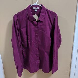NWT Coldwater Creek Plum Button Up Shirt